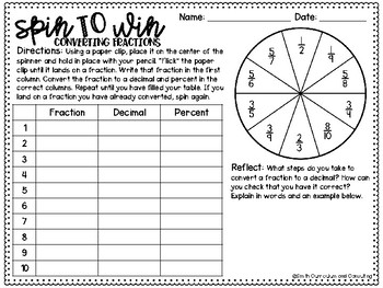 Sixth Grade Spin to Win Games - 36 Spinner Centers for Math Workshop