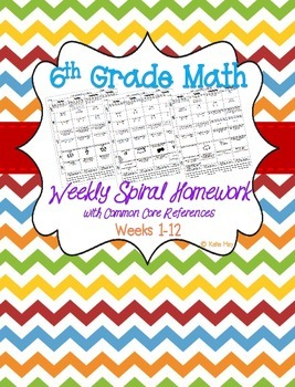 Sixth Grade Spiral Daily/Weekly Math Homework ~Common Core References WEEKS 1-12