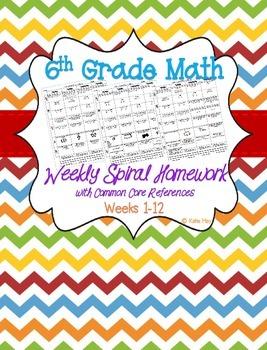 Sixth Grade Spiral Daily/Weekly Math Homework ~Common Core