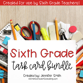Sixth Grade Task Card Bundle of Resources for Interactive Learning