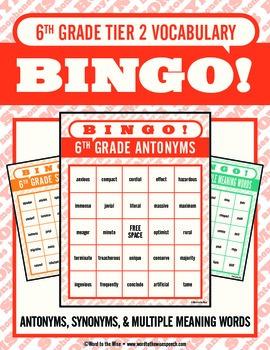 Sixth Grade Tier 2 Vocabulary Bingo