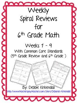Sixth Grade Weekly Math Spiral Reviews (Weeks 1-9)