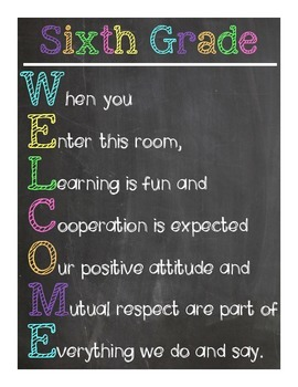 Sixth Grade Welcome Sign