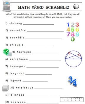 Sixth Grade Word Search PLUS Math Word Scramble (2 Items)