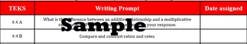 6th Grade Math Writing Journal Prompts on Proportionality {TEKS}