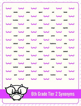 Sixth through Eighth Grade Tier 2 Vocabulary Mustache Dots Combo Pack