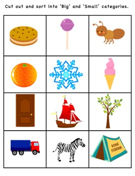 Size Adjective / Concept Learning Package inc Big and Small