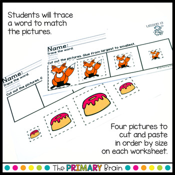 Size Ordering Cut and Paste Worksheets for Kindergarten