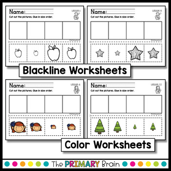 Size Ordering Cut and Paste Worksheets for Preschool