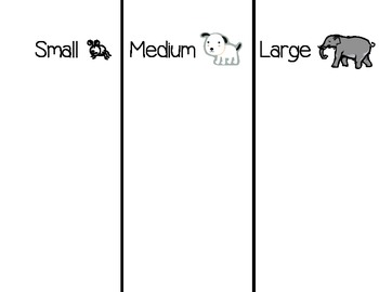 size sorting chart small medium large freebie by cupcakes and craftastrophes. Black Bedroom Furniture Sets. Home Design Ideas