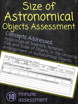 Size of Astronomical Objects Assessment Quiz