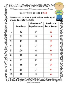 Size of Equal Groups, 3rd Grade Go Math 7.2 Extra Practice