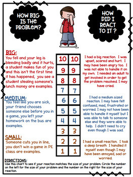 Size of My Problem, Size of My Reaction FREEBIE Anchor Chart