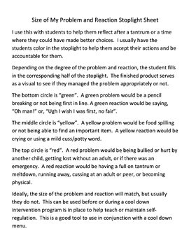 Size of My Problem and Reaction Stoplight Worksheet