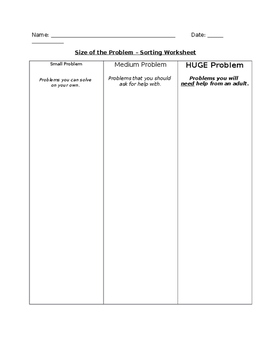 Size of the Problem Sorting Worksheet