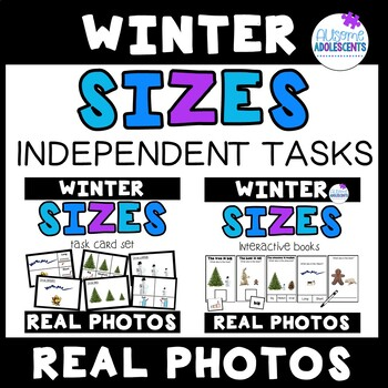 Sizes Independent Tasks REAL PHOTOS (Books and Task Cards)- WINTER