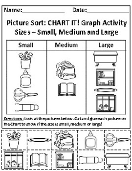 Sizes: Small, Medium and Large Picture Sort Graph Activity and Chart Activity