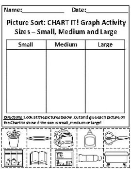 Sizes: Small, Medium and Large Picture Sort Graph Activity