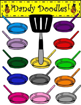 Sizzling Frying Pans Clip Art by Dandy Doodles