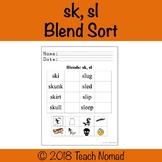 Sk, Sl Blends Picture Sort