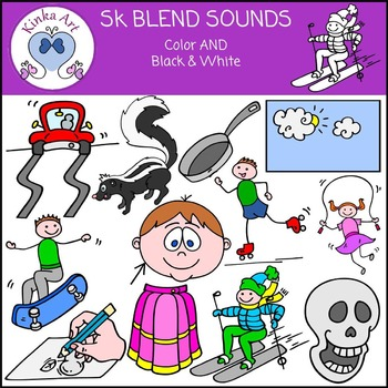 Sk Sounds (S Blends): Beginning Sounds Clip Art