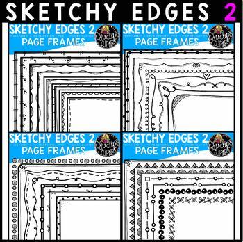 Sk-edges 2 Hand Drawn Page Border Clip Art Bundle {Educlips Clipart}