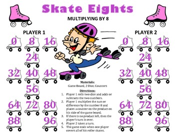 Skate Eights - A 2-Player Game to Practice Multiplying by the Number 8