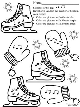 Music Worksheets: Skate into Rhythm {Ice Skates and Mittens}