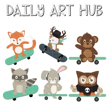 Skateboard Animals - Great for Art Class Projects!