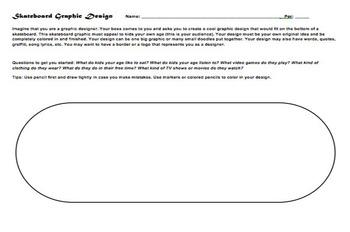 Skateboard Design Handout Art Sub Lesson Plan Graphic Design Middle School Art