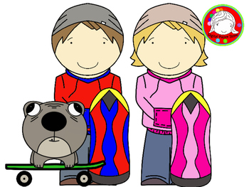 Skateboard Kids Clipart (Personal & Commercial Use)