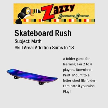 Skateboard Rush Folder Game Addition Sums to 18
