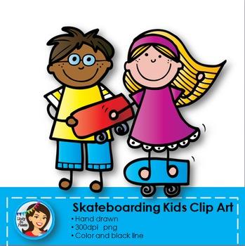 Skateboarding Kids Clip Art