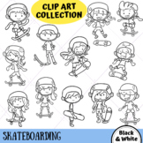 Skateboarding Kids Clip Art (BLACK AND WHITE ONLY)