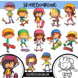 Skateboarding Kids Clip Art Collection