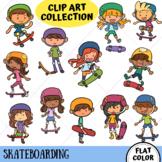 Skateboarding Kids Clip Art (FLAT COLOR ONLY)
