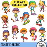 Skateboarding Kids Clip Art (FULL COLOR ONLY)