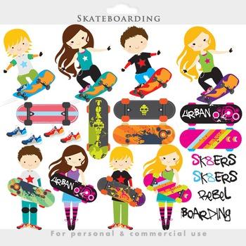 Skateboarding clipart - skateboarding clip art skateboard boarding girls boys