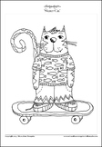 Skater Cat - Printable Colouring Page.
