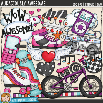 "Skater Girl / Teen Girl Clip Art: ""Audaciously Awesome"""