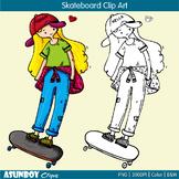 Skateboarding clipart art skateboard boarding girls  {Asun