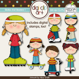 Skates And Skooters 1 -  Digi Clip Art/Digital Stamps - CU Clip Art