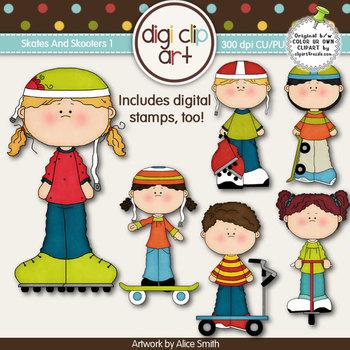 Skates And Skooters 1 -  Digi Clip Art/Digital Stamps - CU