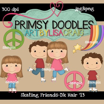 Skating Friends-Dark Hair 300 dpi Clipart