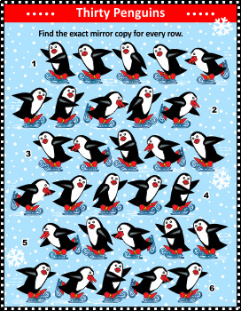 Skating Penguins Mirrored Rows Visual Puzzle, Commercial Use Allowed