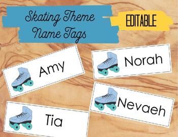 Skating Theme Name Tags - Editable