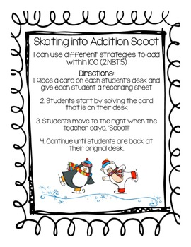 Skating into Addition Scoot Review Game (2.NBT.5)