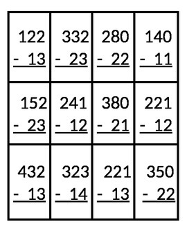 Skeeball 3 Digit - 2 Digit Subtraction with Regrouping
