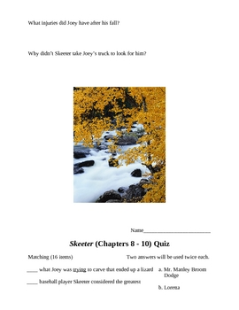 Skeeter by K .Smith Quizzes and Test