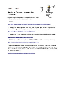 Skeletal System Interactives